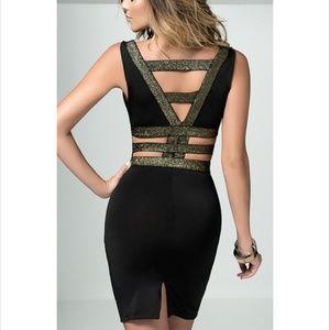 Yandy Dresses - Braided Gold Metallic Cocktail Dress size M